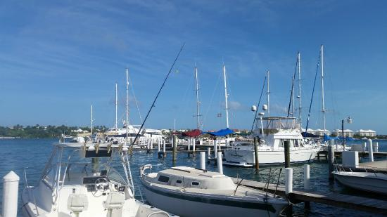 Nassau Harbour Club: View of marina from pool area