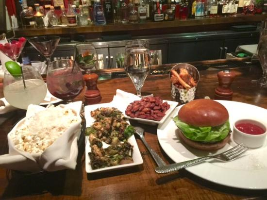 Lake Placid Lodge: Dinner at Maggie's Pub - Truffle Popcorn, Brussel Sprouts, Burger