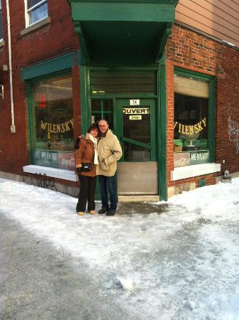 Wilensky's Light Lunch: Outside on a cold day after a toasty lunch inside!
