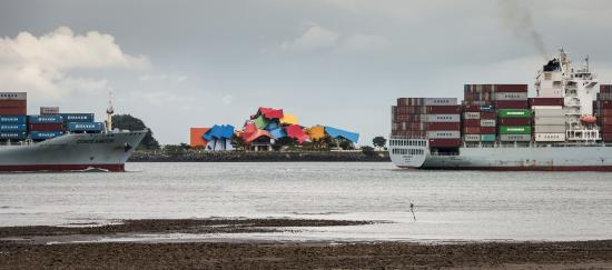 The Biomuseo and ships crossing the Canal
