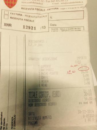 Ristorante Allo Scudo D'Orlando: ricevuta ristorante