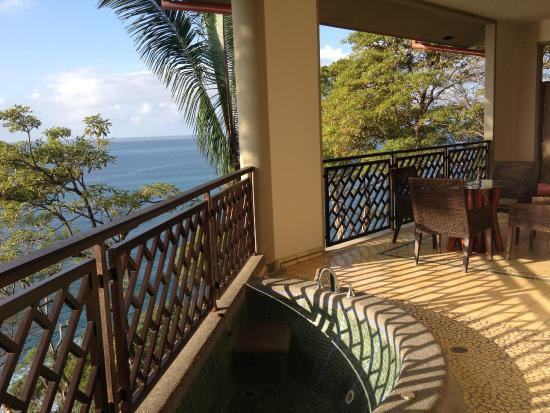 Arenas del Mar Beachfront & Rainforest Resort: Our balcony and view. Balcony is too big to capture in photo