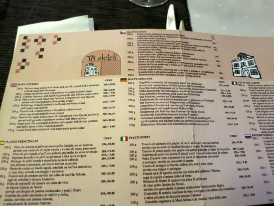Tri Stoleti: menù cartaceo anche in italiano