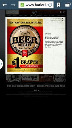 Bar Louie: False advertisement, does not exist