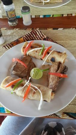 Lunch at Mafia Beach Bungalows. ..fresh tuna and chapati