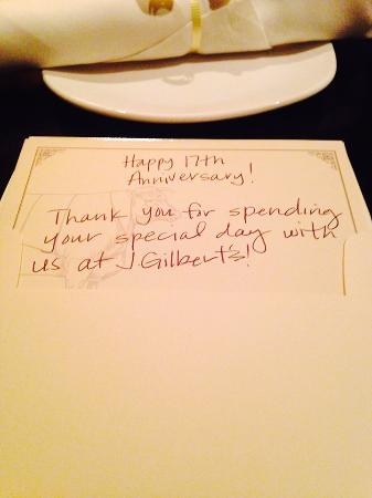 J. Gilbert's Wood-Fired Steaks and Seafood: Card