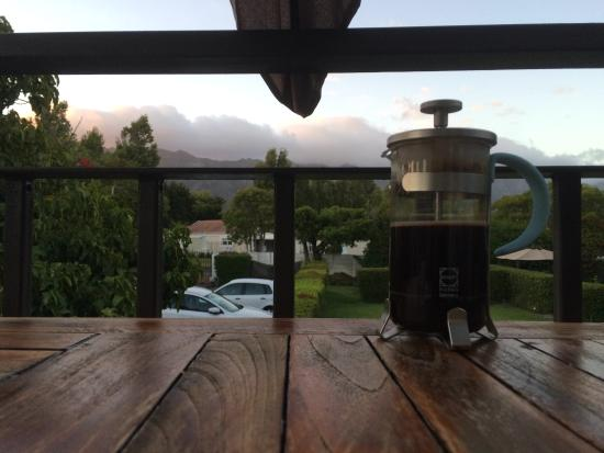 Constantia White Lodge: Coffee on the terrace