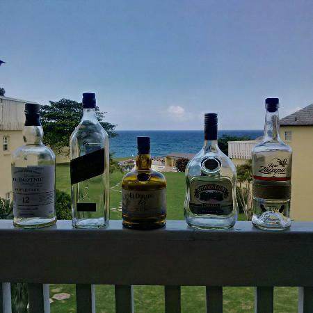 Sea Palms: Empty Bottles of Scotch & Rum On the Wall