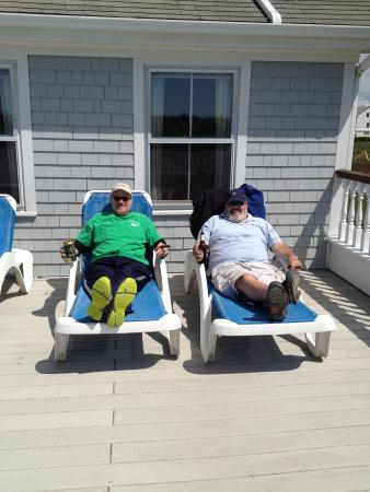 Relaxing on Large Rose Farm Inn deck