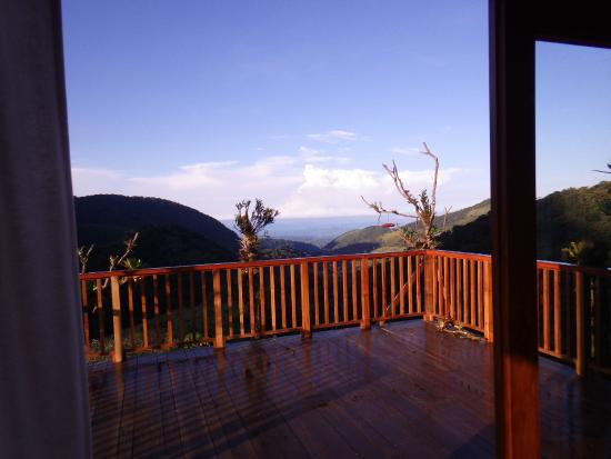Mount Totumas Cloud Forest: The view toward Volcan and the Pacific Ocean from the porch.