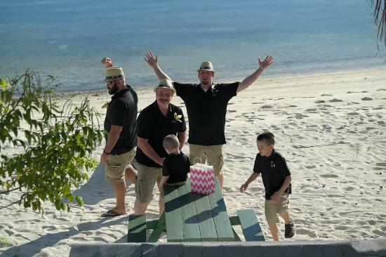 Green Turtle Club & Marina: The groom, father of the Bride, and couples 2 boys