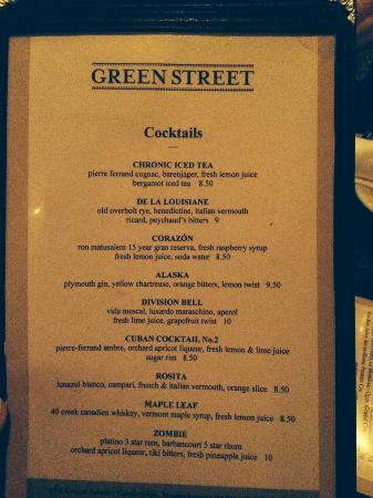 Cocktail List at Green Street
