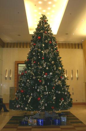 Hilton Budapest City: Christmas tree in lobby
