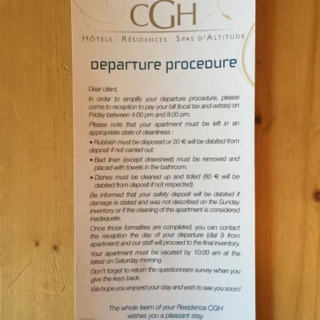 CGH Résidences & Spas Les Alpages de Champagny : They got stupid departure procedures.