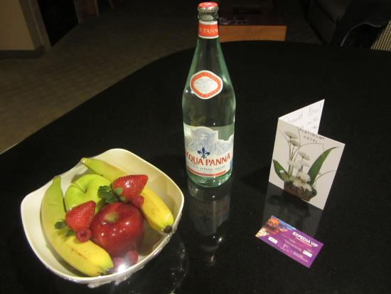 Platinum Hotel and Spa: Complimentary fruits, bottle of water and 2 drinks