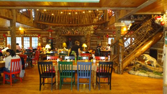 The Swinging Bridge Restaurant: The dining area with the swinging bridge in view.