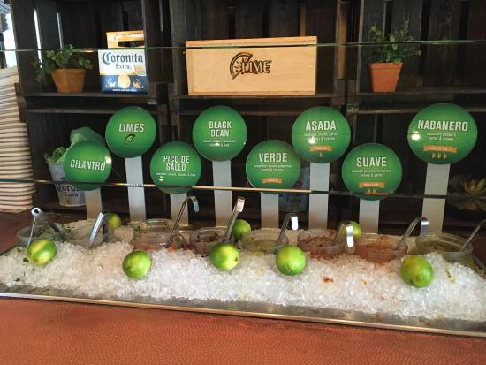 Lime Fresh Mexican Grill: Salsa and other toppings are kept chilled on ice.