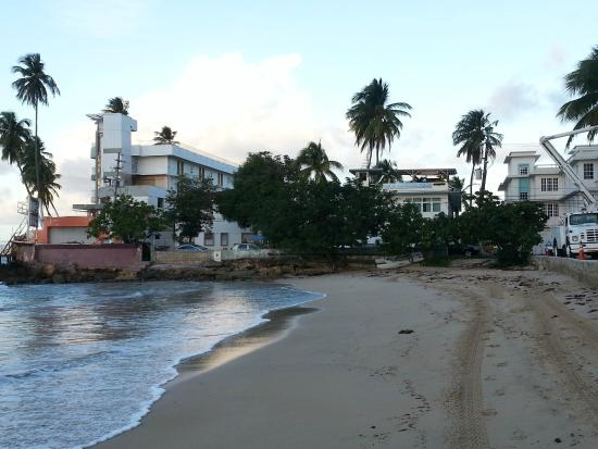 La Playita: View of hotel (second from the left) from the beach.