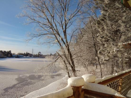 The Riverside Motel: View from our deck of the river that froze overnight at -13