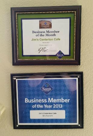 "2013 Certificates Displayed as ""Jim's Centerton Cafe"""