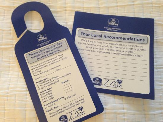 Best Western Plus Capitol Ridge: These are certainly helpful to you - and future guests.