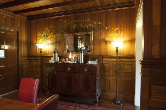 Spillian: A Place to Revel: Dining Breakfast Sideboard with original wall painting