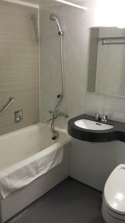 Nagoya Kanko Hotel: View of bathroom - not too cramped.