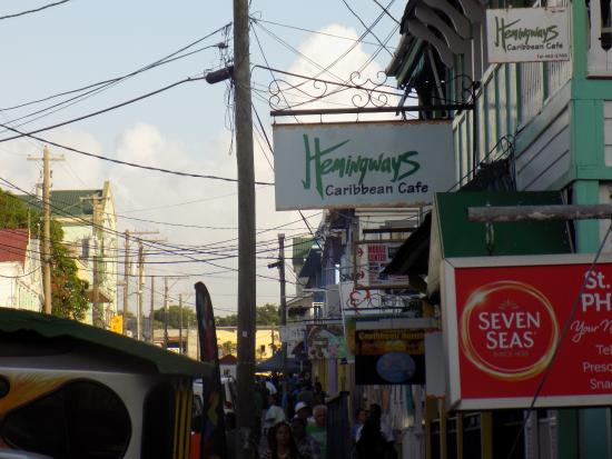 Hemingways Caribbean Cafe : Don't let the little sign fool you; take the stairs and enjoy the view