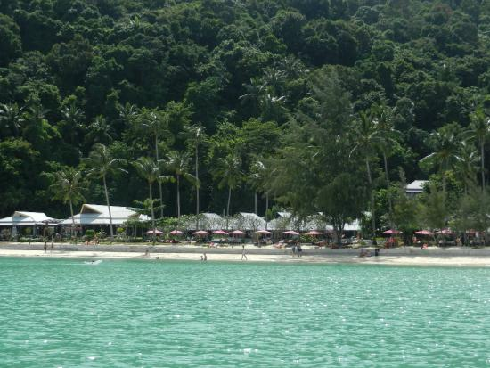 Koh Ngai Thanya Beach Resort: view of the resort as we approached by boat