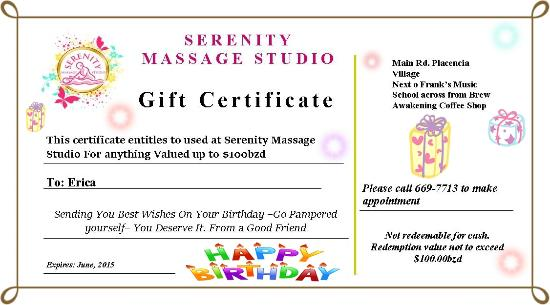 Serenity Massage Studio : We do Gift Certificate for any service or any Price