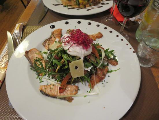 La Part des Anges : Salade de lentilles, roquette et saumon