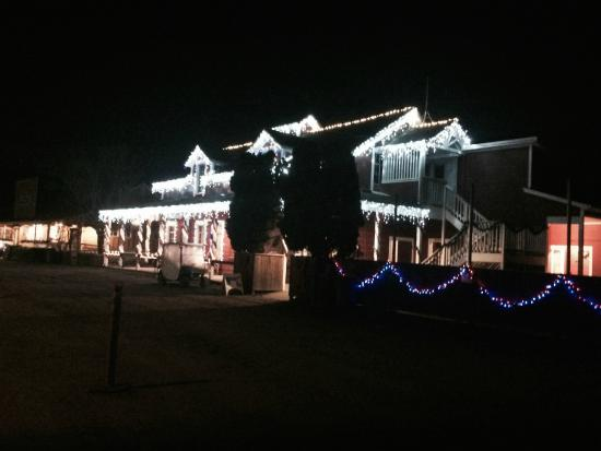Casini Ranch Campground : The office, store and barn lit up at night!