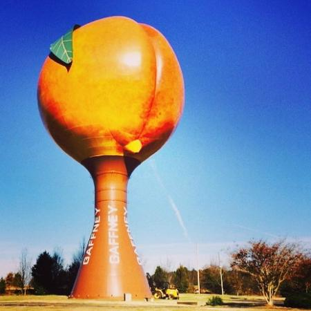 The Peachoid on a beautiful day
