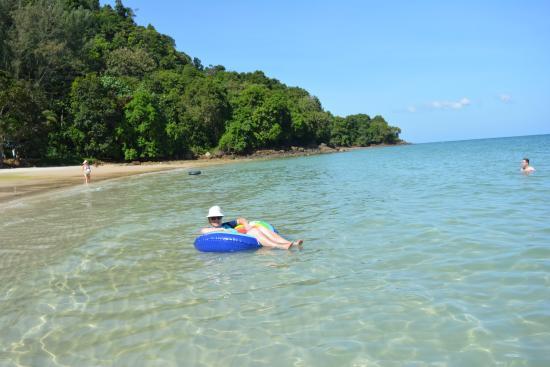 Pasir Tengkorak Beach: Floating in the warm water