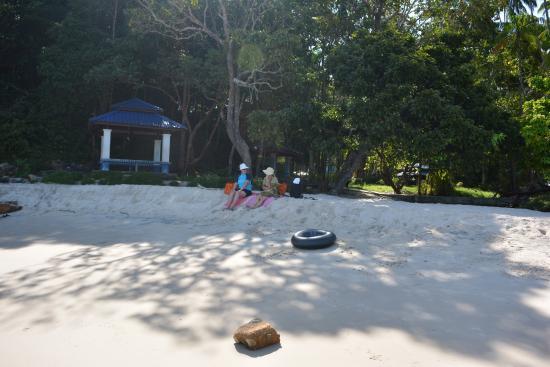 Pasir Tengkorak Beach: Shaded area on beach