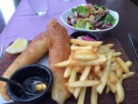Salt tapas & bar: Fish and chips and chopped salad