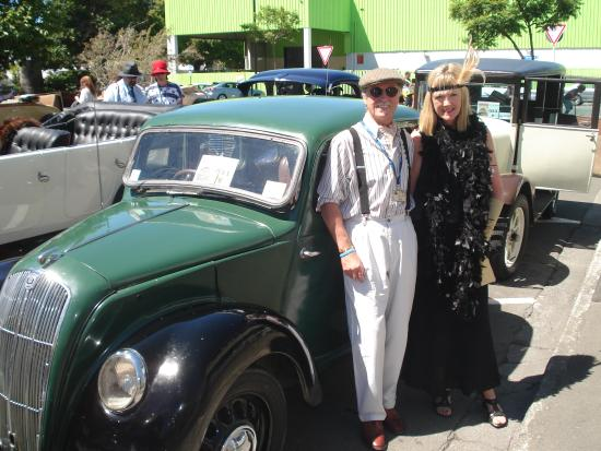 Havelock House: Diana & Jeff with 'Brenda' - in the vintage car run Art Deco Napier