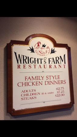 Wright's Farm Restaurant: Tabela de preços