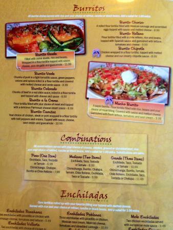 Jalisco's Mexican Restaurant No. 2: Menu