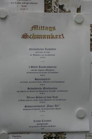 Gasthaus Zum Suenfzen: Come si vede i prezzinon sono ecessivi