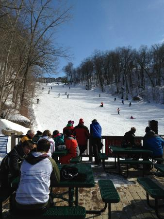 Chestnut Mountain Resort: View from the outdoor bar / snack shop