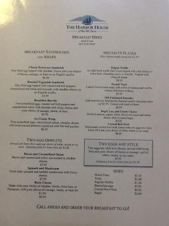 The Harbor House: Breakfast Menu