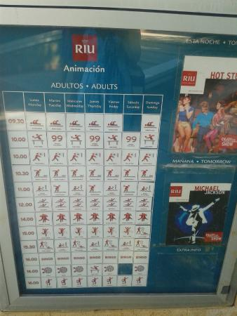 Hotel Riu Caribe: Listado de Actividades