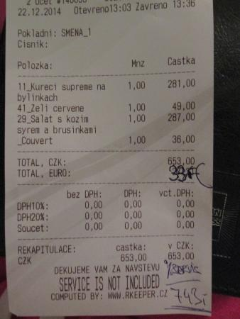 Restaurant Cerny Baron: extra charges