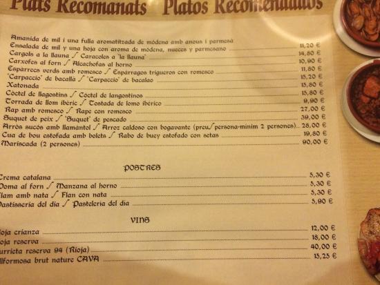 Carta 2 fotograf a de la b ta del rac barcelona for 7 portes barcelona menu