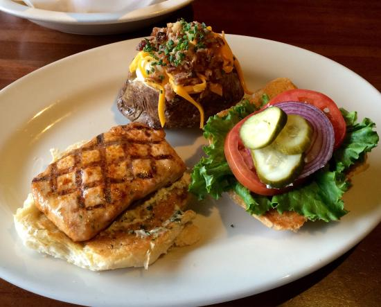 Grilled salmon sandwich and loaded baked potato picture for J alexander s boca
