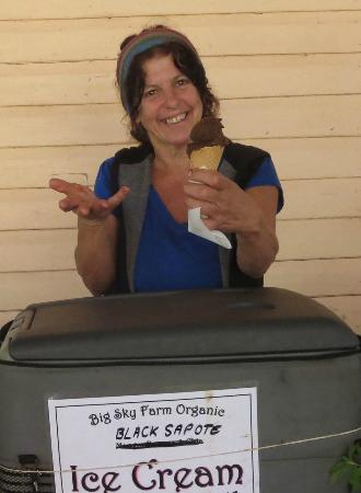 "Lillian Rock, Australia: Gen from the ""Big Sky Farm"" stall's wonderful ""chocolate pudding fruit"" icecream"
