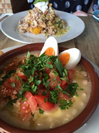 Little Lane Espresso: quinoa, mango, lychee with coconut and syrian beans, tomato, tahini with an egg