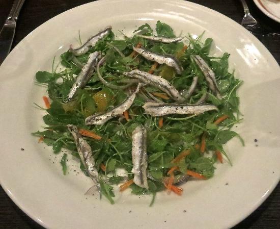 Valenti & Co: Fresh white marinated anchovy, arugula, orange, carrot salad.