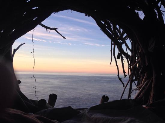 Treebones Resort Wild Coast Restaurant and Sushi Bar : Sunset in December from Human Nest